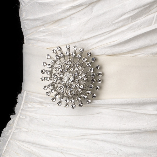 Belt with Silver Clear Crystal Sunburst Brooch 61