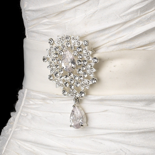 Belt with Silver Clear Dangle Pear Crystal Brooch 936