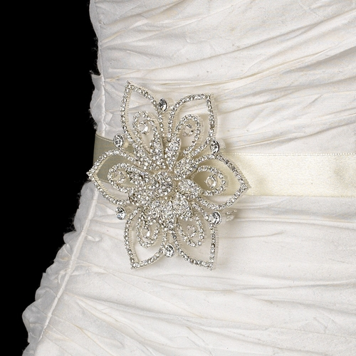 Belt with Silver Clear Floral Brooch 140