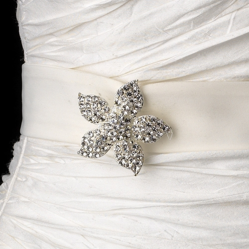 Belt with Silver Clear Floral Starfish Brooch 3174