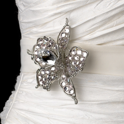 Belt with Silver Clear Light Pink Flower Brooch 82