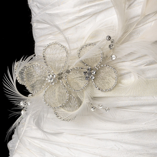 Belt with Silver Clear Rhinestone Mesh Flower Feather Fascinator Comb 9796