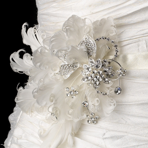 Belt with Silver Clear Rhinestones & Feather Fascinator Clip 458
