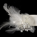 Belt with Silver Clear Rhinestones & Floral Swirl Feather Fascinator Organza Clip 462