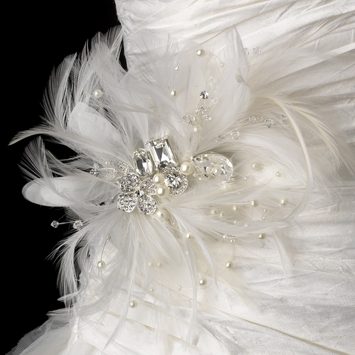 Belt with Silver Clear Rhinestones & Ivory Pearls Feather Fascinator Comb 5552