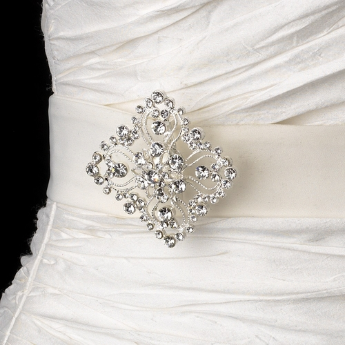 Belt with Silver Clear Vintage Diamond Shape Brooch 3234