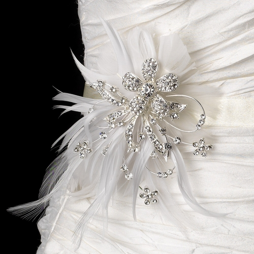 Belt with Silver Plated with Clear Rhinestones & White Feather Clip 456