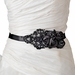 Black Floral Bead & Sequin Sash Belt 1