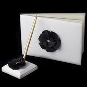 Black Flower Guest Book & Pen Set 804