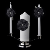 Black Flower Unity Candle Set 804