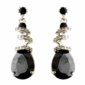 Black Swarovski Crystal & CZ Swirl Earrings 8592