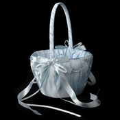 Blue Lace Ribbon & Sheer Organza Flower girl Basket w/ Rhinestone & Pearl Accents