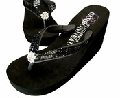 Breeze ~ Black High Wedge Bridal Flip Flops with Sequins & Crystals