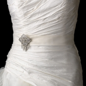 Bridal Belt Sash with Antique Crystal Quadrant Brooch 115