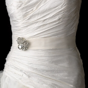 Bridal Belt Sash with Silver Clear Oval Flower Brooch 110