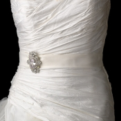Bridal Belt Sash with Vintage Crystal Brooch 935