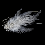 * Bridal Feather Fascinator Comb 1536 White or Ivory