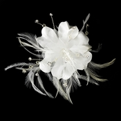* Bridal Feather Fascinator Comb 7023 (or Clip Brooch Option Available)