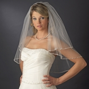 Double Layer Elbow Length Veil with Beaded Pearl Edge in White or Ivory 113