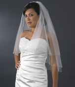 Double Layer Elbow Length Veil with Breathtaking Swarovski Crystal Edge (White or Ivory) 293