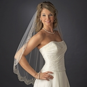 Shimmering Edge of Pearls Beads & Gold Threading Along Scalloped Elbow Length Veil in Ivory 2135