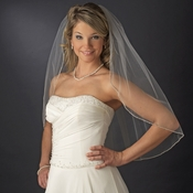 Bridal Wedding Single Layer Elbow Length Swarovski Rhinestone Edge Veil VSW 1E