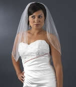 Bridal Wedding Single Layer Elbow Length Veil 139 1E w/ Crystals