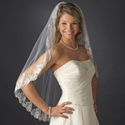Single Layer Fingertip Length Veil with Floral Lace Embroiderey Edge of Sequins & Beads 1794
