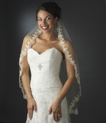 Intricate Single Layer Veil with Flower Embroidery Edge in Elbow Length 591 (Ivory White or Rum Pink)