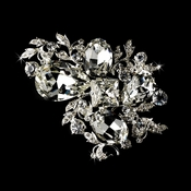 * Brilliant Antique Silver  Rhinestone Vine Bridal Brooch 84