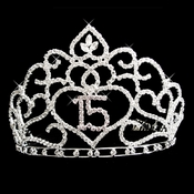 Brilliant Sweet 15 Quincea�era Rhinestone Covered Tiara in Silver with 253