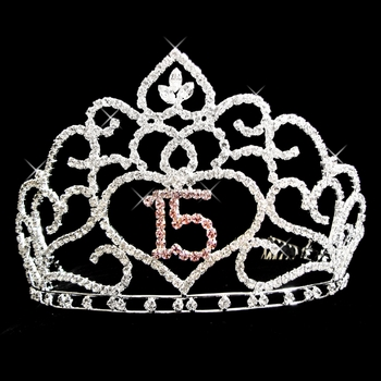 Brilliant Sweet 15 Quinceañera Rhinestone Covered Tiara in Silver with Pink Accents 253