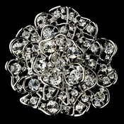 * Brooch 53 Antique Silver and Rhinestone Flower