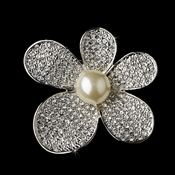 * Brooch 66 Antique Silver Diamond White Pearls and Rhinestones