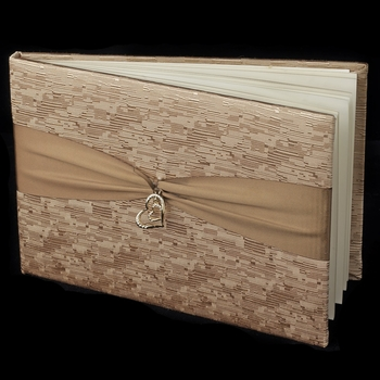 Brown Ribbon & Gold Heart Guest Book 722