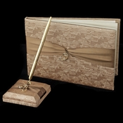 Brown Ribbon & Gold Heart Guest Book & Pen Set 722