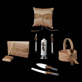 Brown Ribbon & Gold Heart Reception Set 722