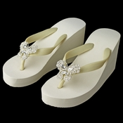 Butterfly Rhinestone High Wedge Flip Flops