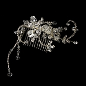 Captivating Silver Floral Hair Comb w/ Clear Rhinestones & Austrian Crystals 8153