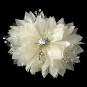 Champagne Tulle & Sheer Organza Flower Clip