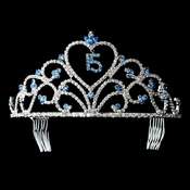 Charming Sweet 15 Quincea�era Blue Rhinestone Tiara in Silver 313