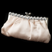 Chic Champagne Satin Clear Rhinestone Evening Bag 302