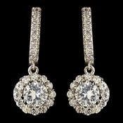 Child's Rhodium Clear Petite CZ Crystal Solitaire Encrusted Drop Earrings 2641