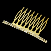 Classic Gold Hair Comb w/ Clear Rhinestones 9003 ( 4 in stock)