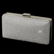 Clear Rhinestone Covered Silver Evening Bag 335