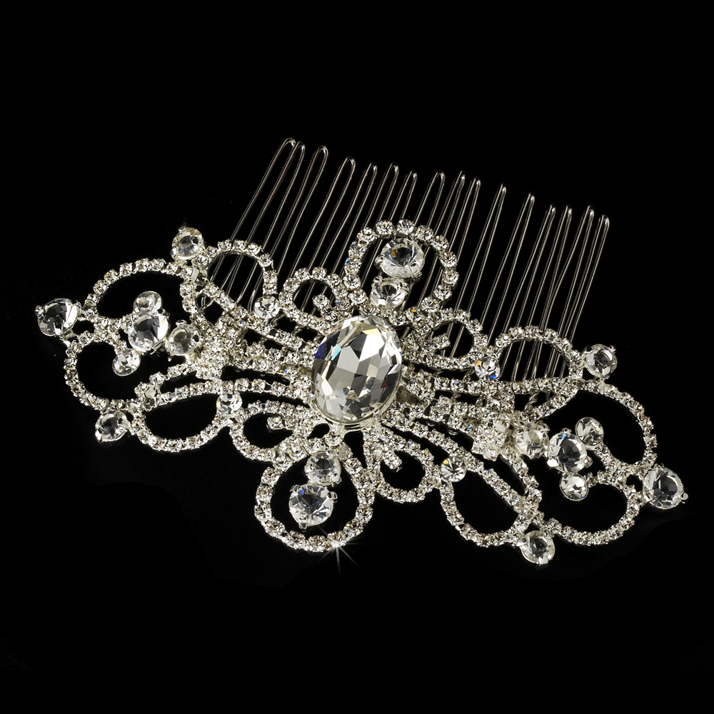 Silver Plated Rhinestone Swirl Couture Bridal Hair Comb - Comb 8365