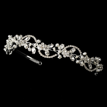 Crystal and Pearl Wedding Floral Tiara Headband HP 392