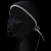 Crystal Bead & Rhinestone Sheer Ribbon Forehead Headband 1453