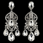CZ Crystal & Rhinestone Rhodium Chandelier Earrings 4140