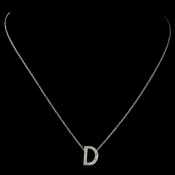 """D"" Sterling Silver CZ Crystal Initial Necklace 4407"